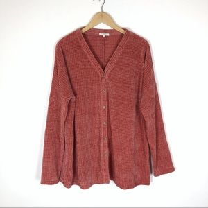 Easel Coral Knit Button Front Top Large